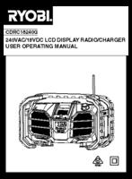 Ryobi cdrc18240g manual 1